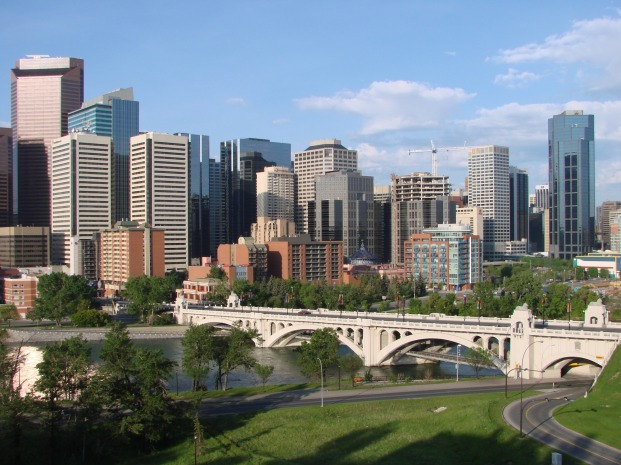 Calgary downtown and Centre Street bridge